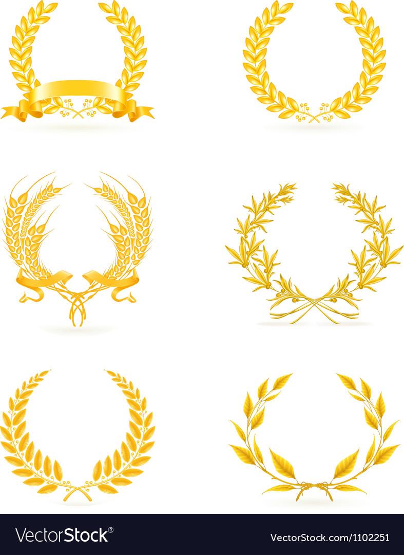 Golden wreath set vector