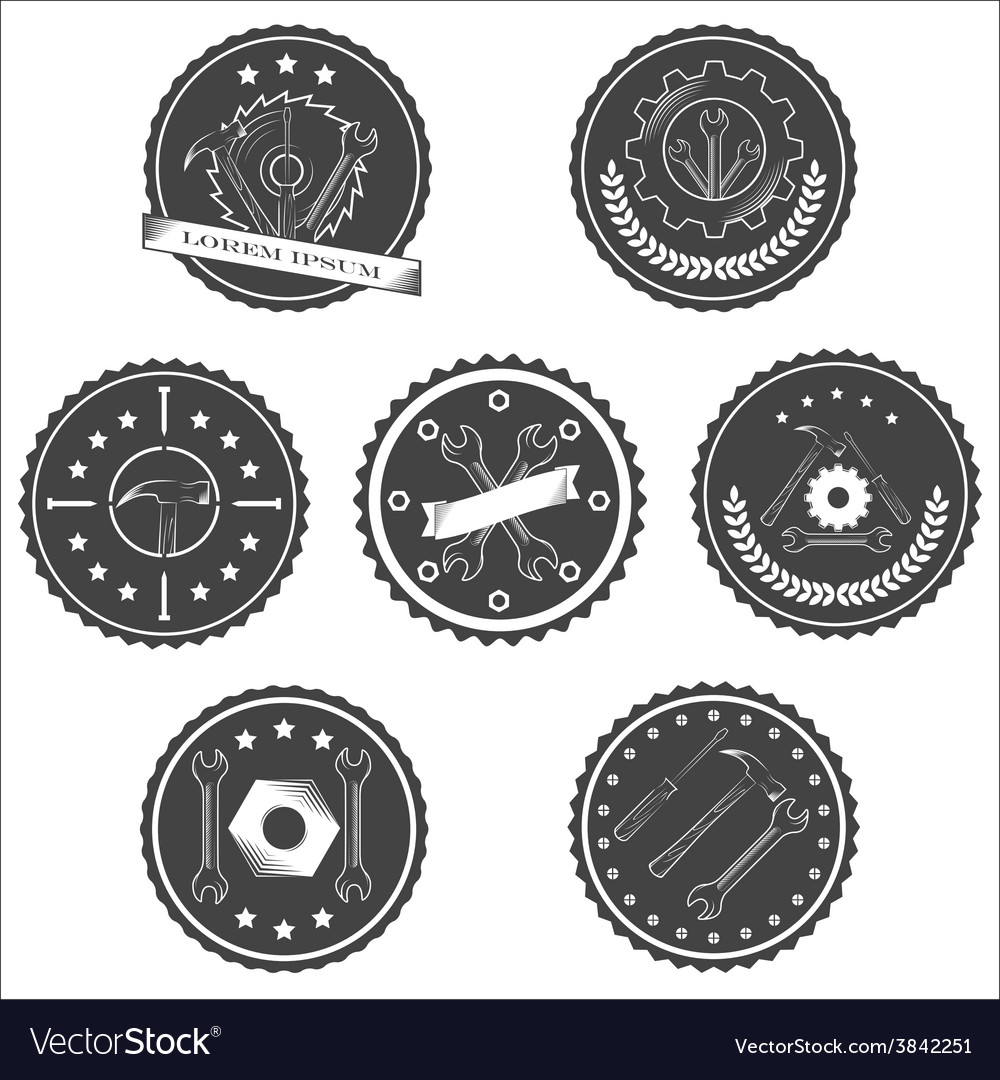 Set of vintage tools labels vector