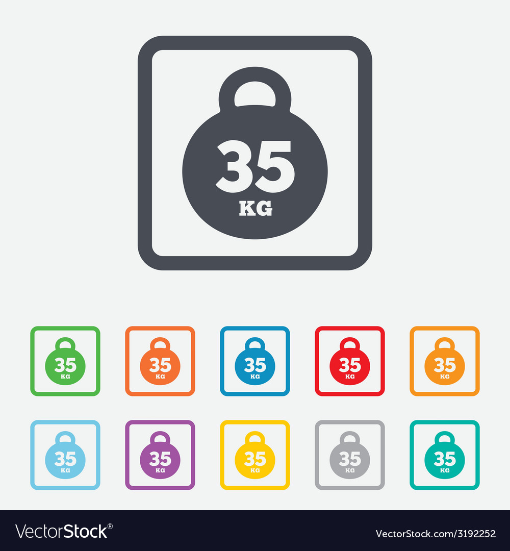 Weight sign icon 35 kilogram kg sport symbol vector