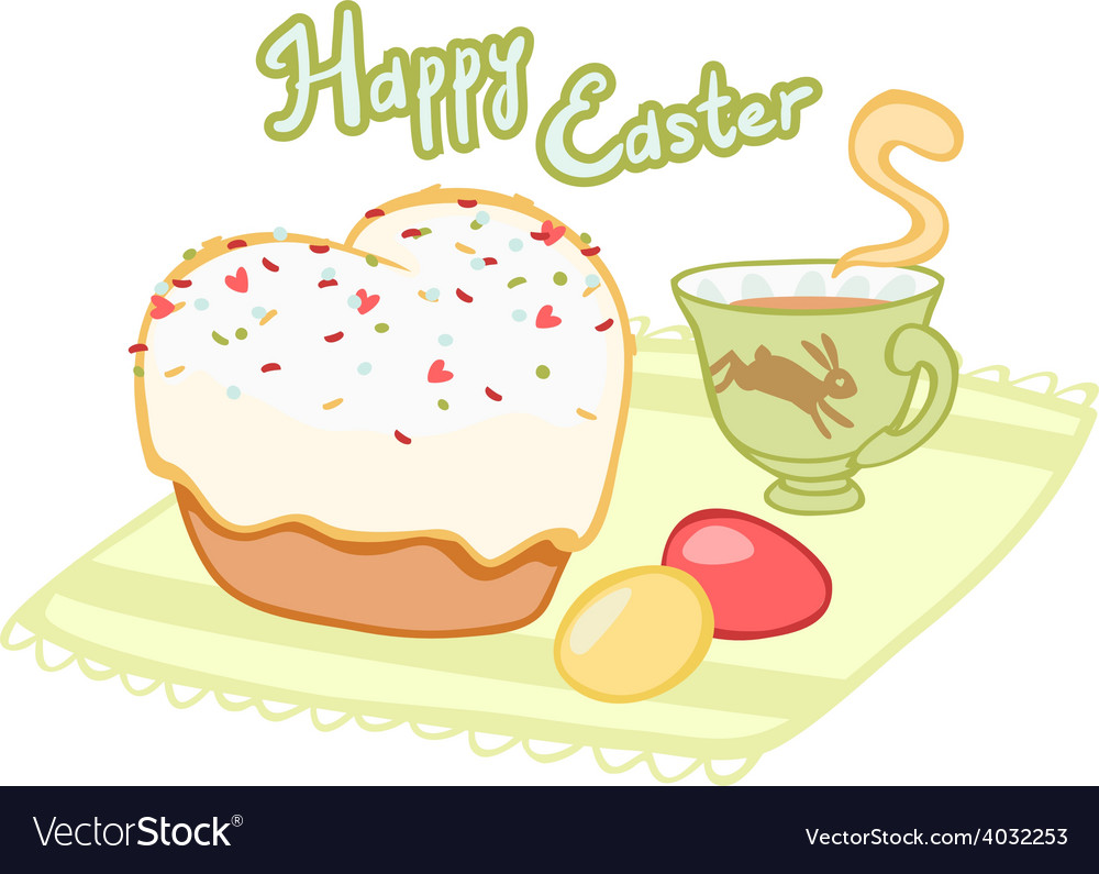 Easter tea with cupcake and painted eggs vector