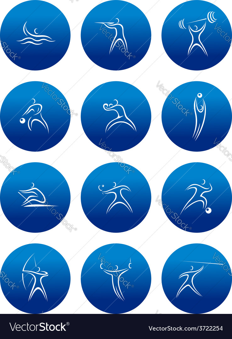Abstract sporting pictograms with silhouettes of vector