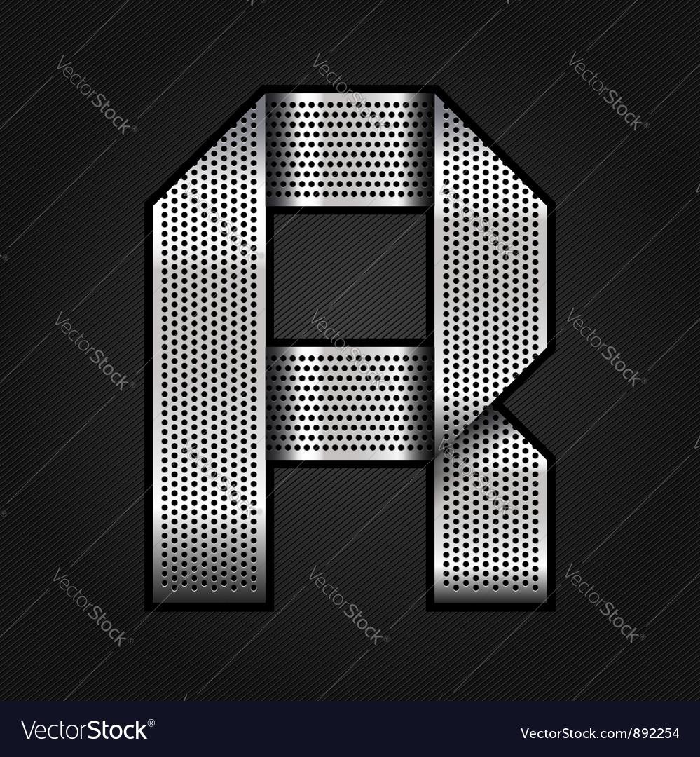Letter metal chrome ribbon - r vector
