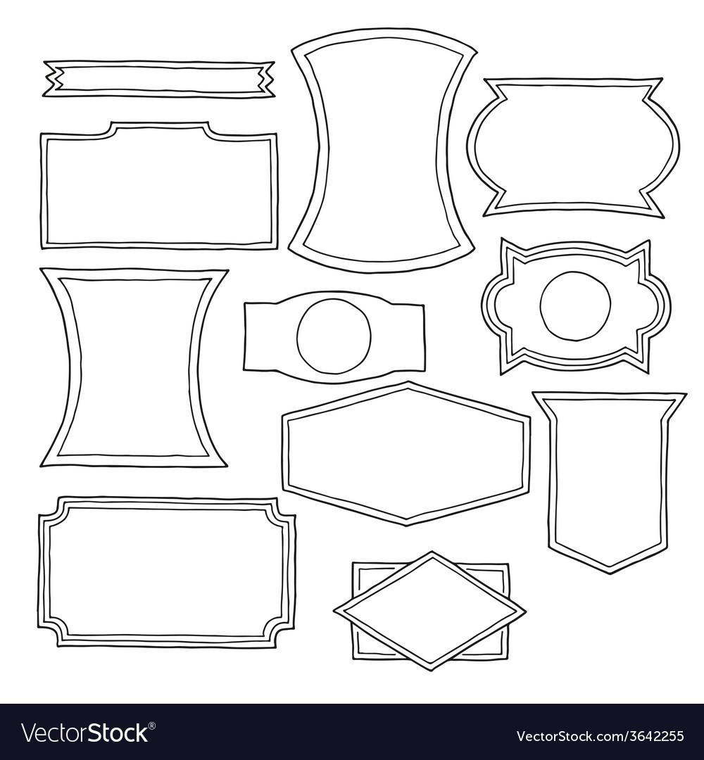 Set of hand drawn vintage logo shapes vector