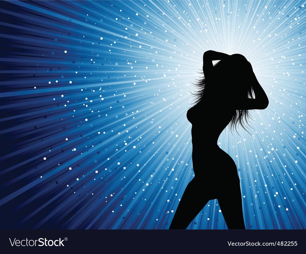 Sexy female on starburst background vector