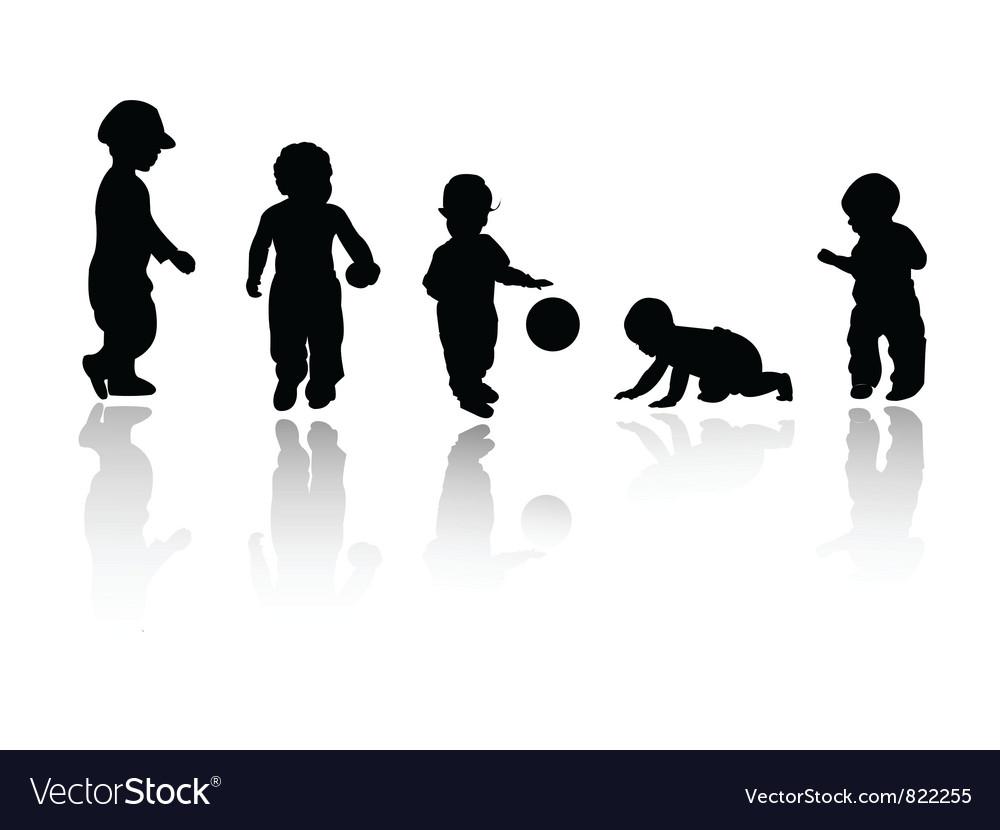 Silhouettes - children vector