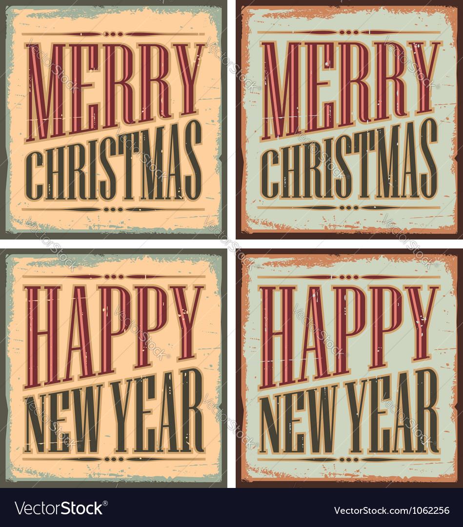 Vintage style christmas tin signs - christmas card vector