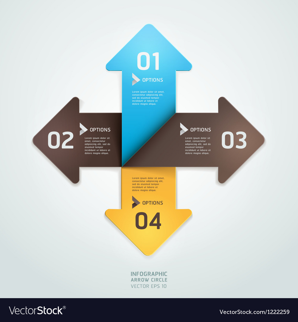 Infographics elements arrow circle origami style vector