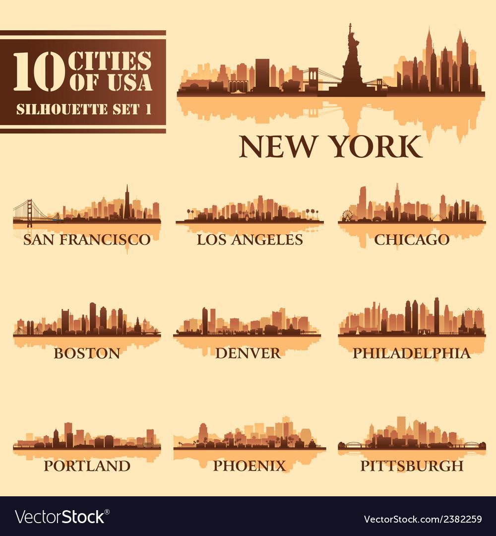 Set usa city 1 brown vector