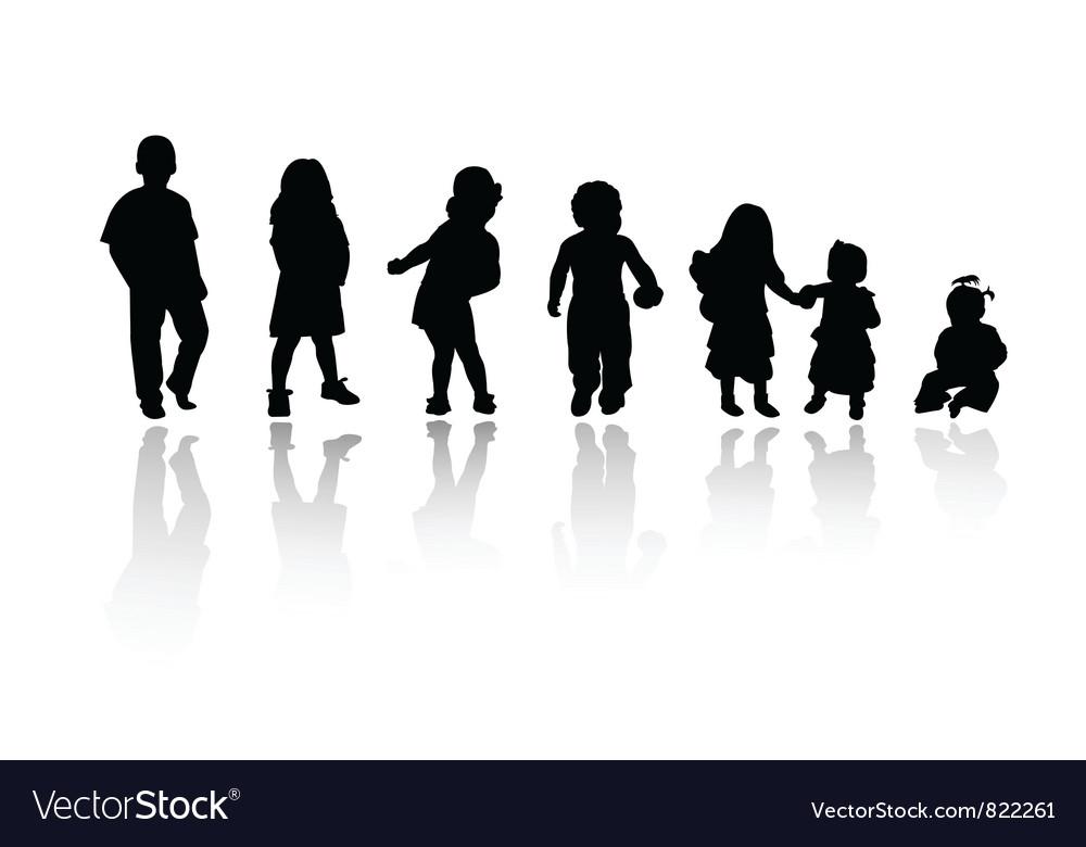 Silhouettes children vector