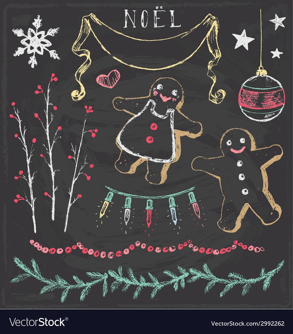 Vintage christmas chalkboard hand drawn set 6 vector