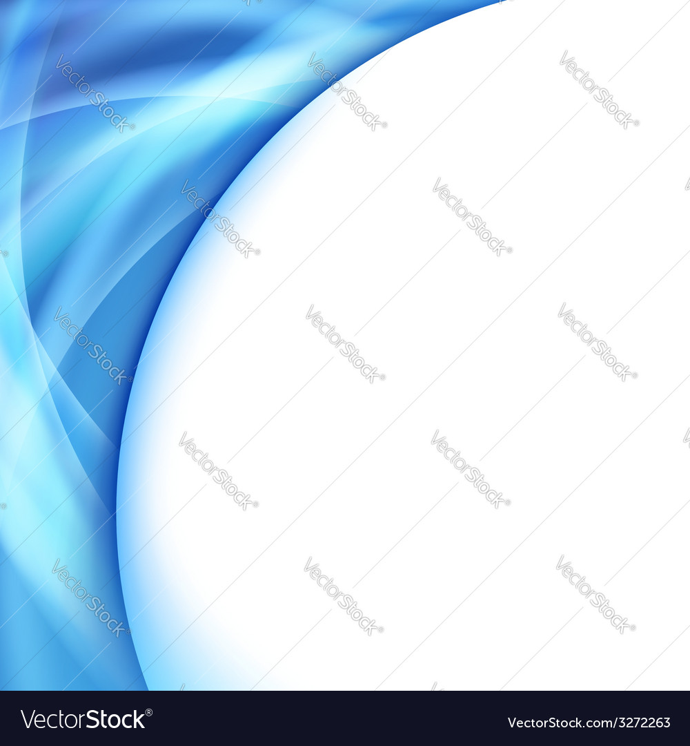 Bright blue swoosh glowing wave lines abstraction vector