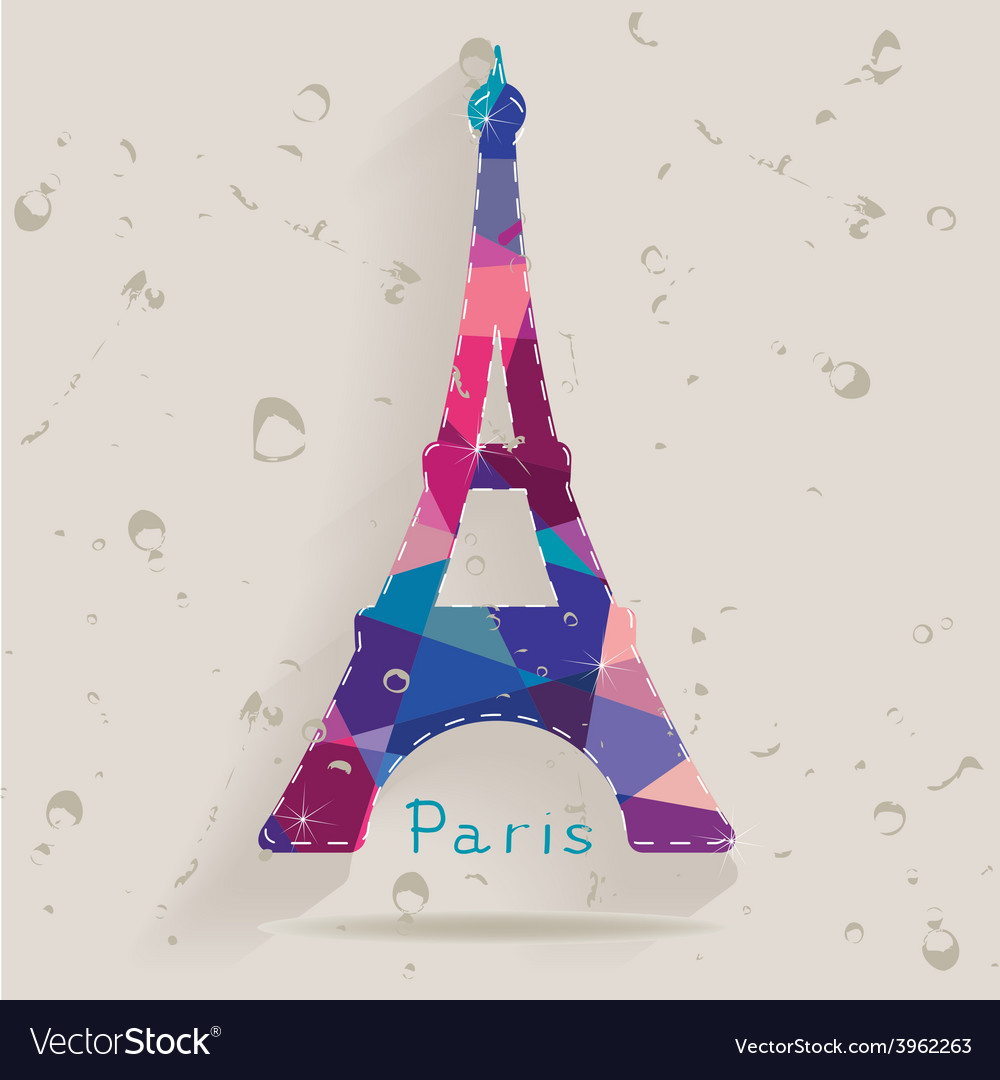 Eiffel tower made of triangles vector