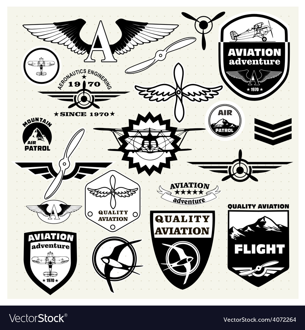 Monochrome mega set of the theme aviation vector