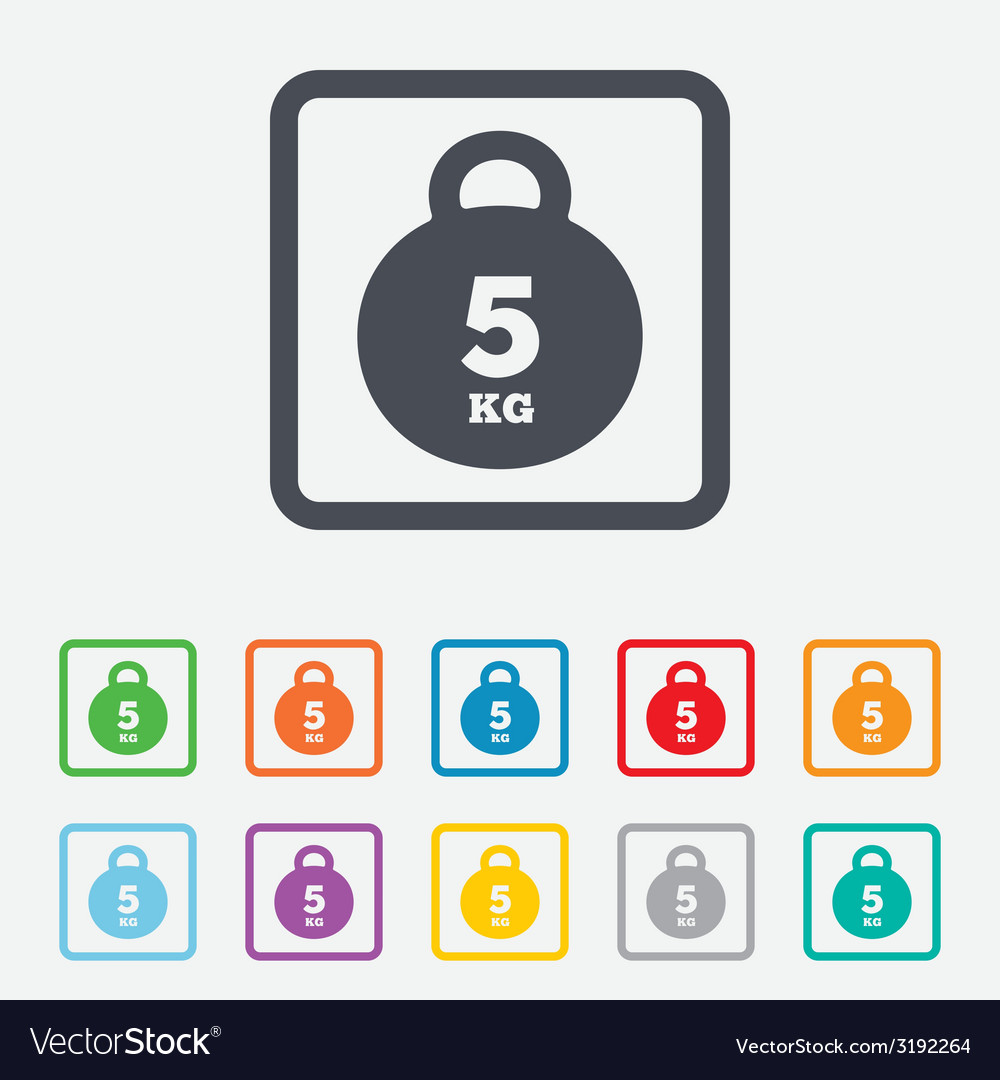 Weight sign icon 5 kilogram kg sport symbol vector