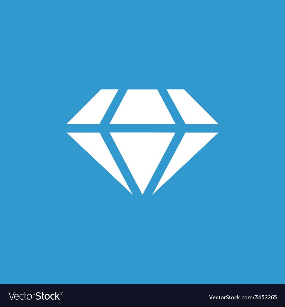 Diamond icon white on the blue background vector