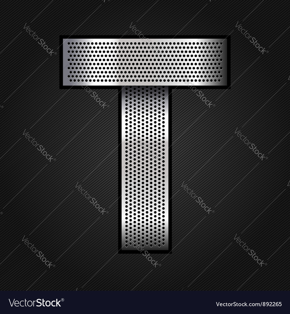 Letter metal chrome ribbon - t vector