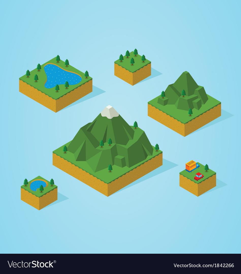 Isometric mountain map vector