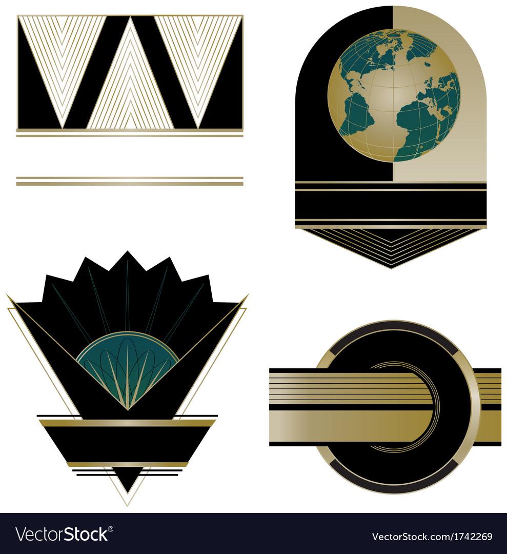 Art deco logos and design elements vector
