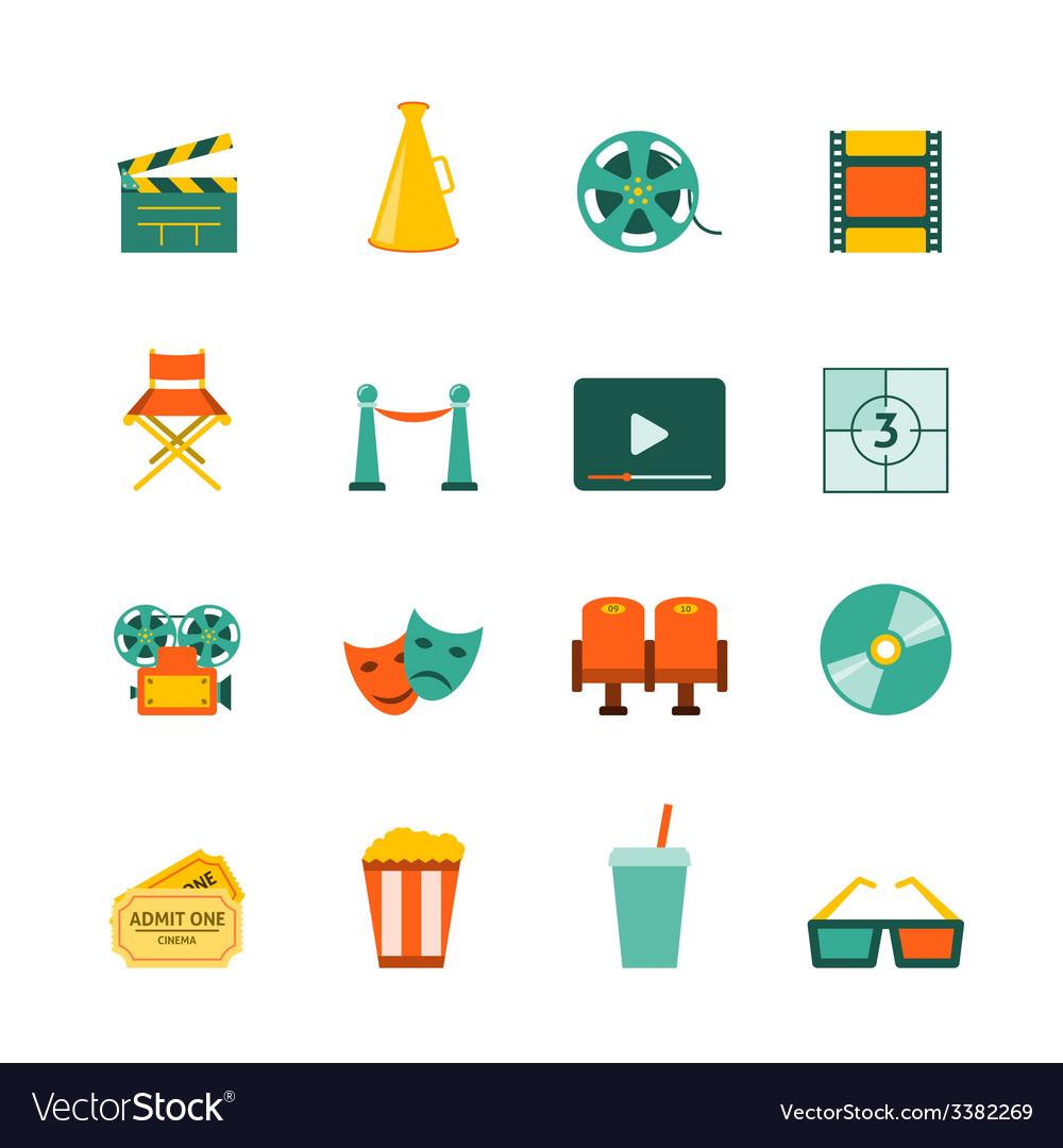 Cinema flat icons set vector