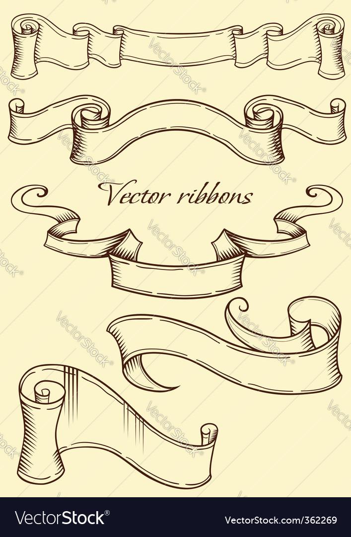 Retro style ribbon vector