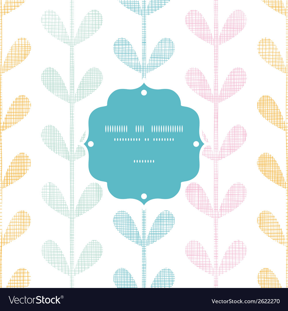 Abstract textile colorful vines leaves frame vector