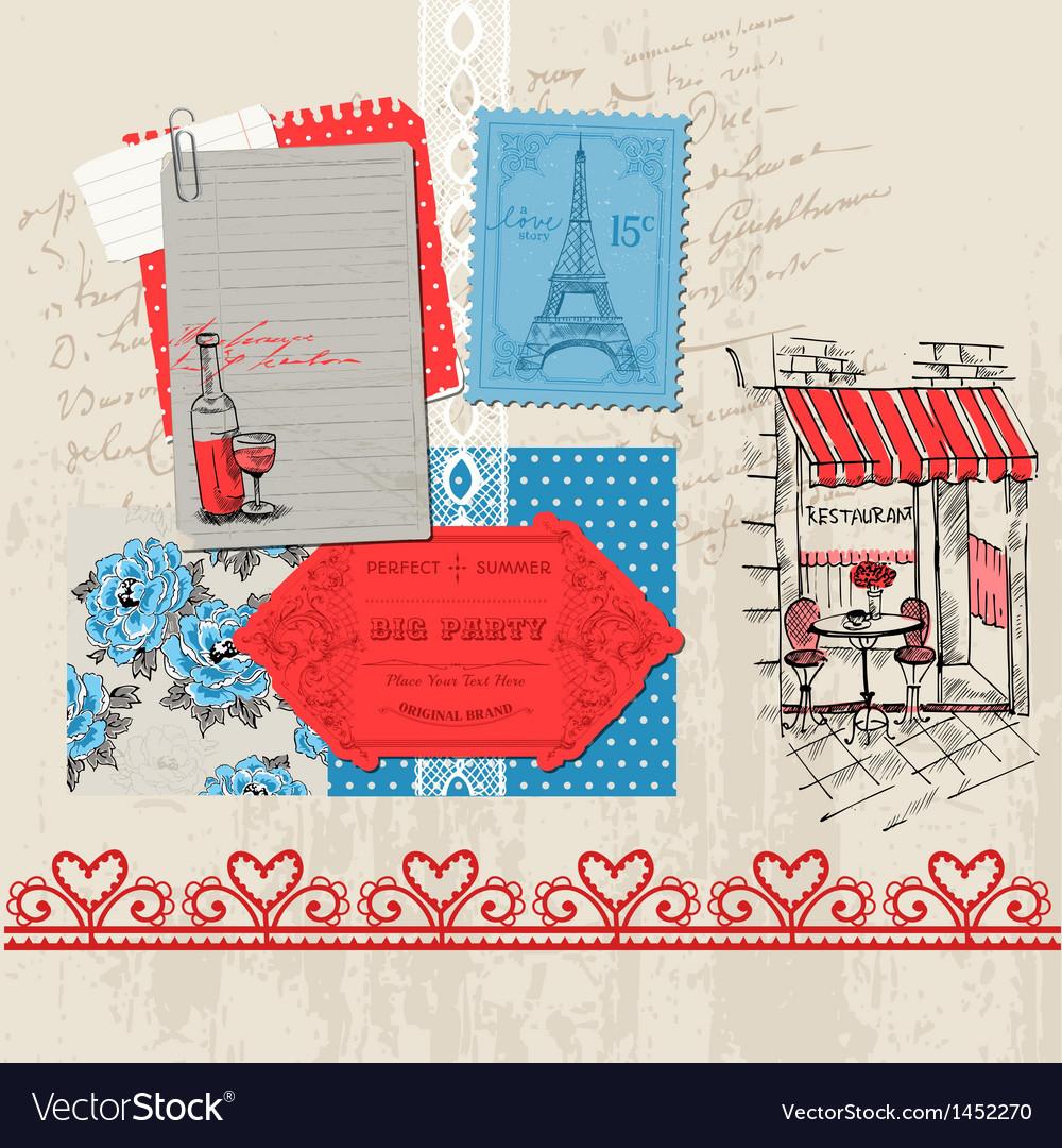 Paris vintage set vector