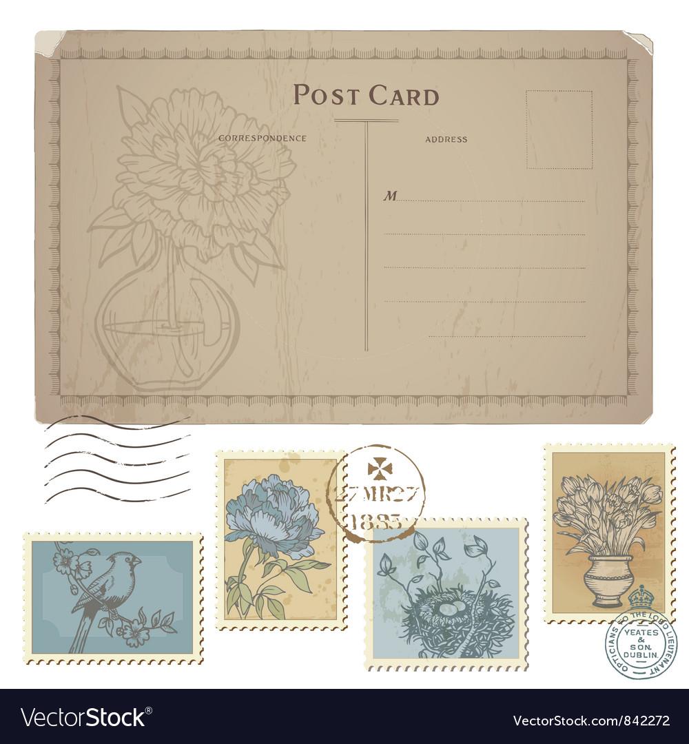 Vintage postcard vector