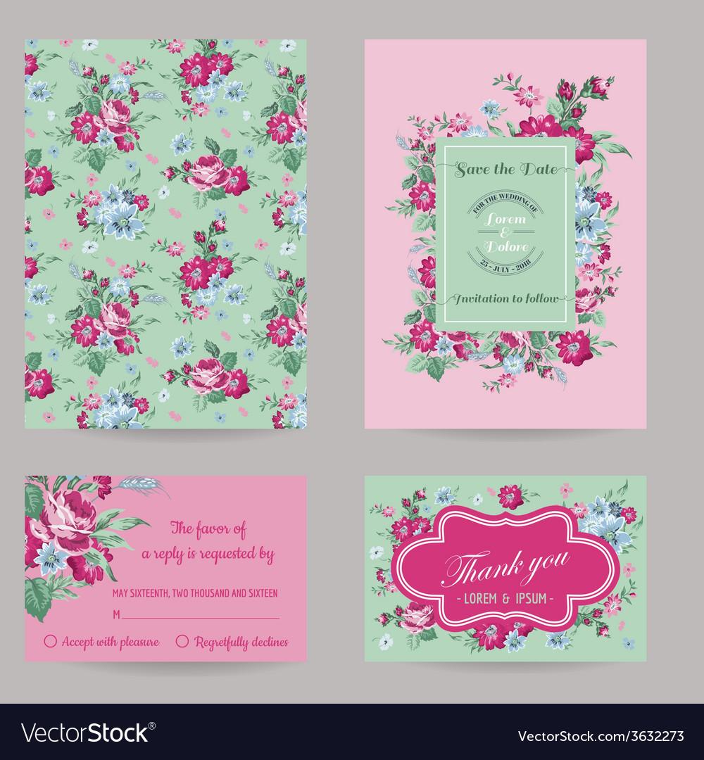 Invitation congratulation card set vector