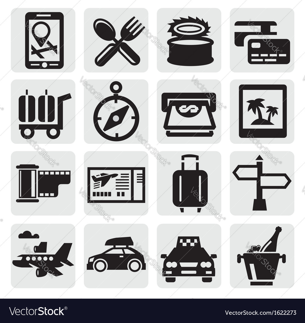 Vacation travel icon set vector