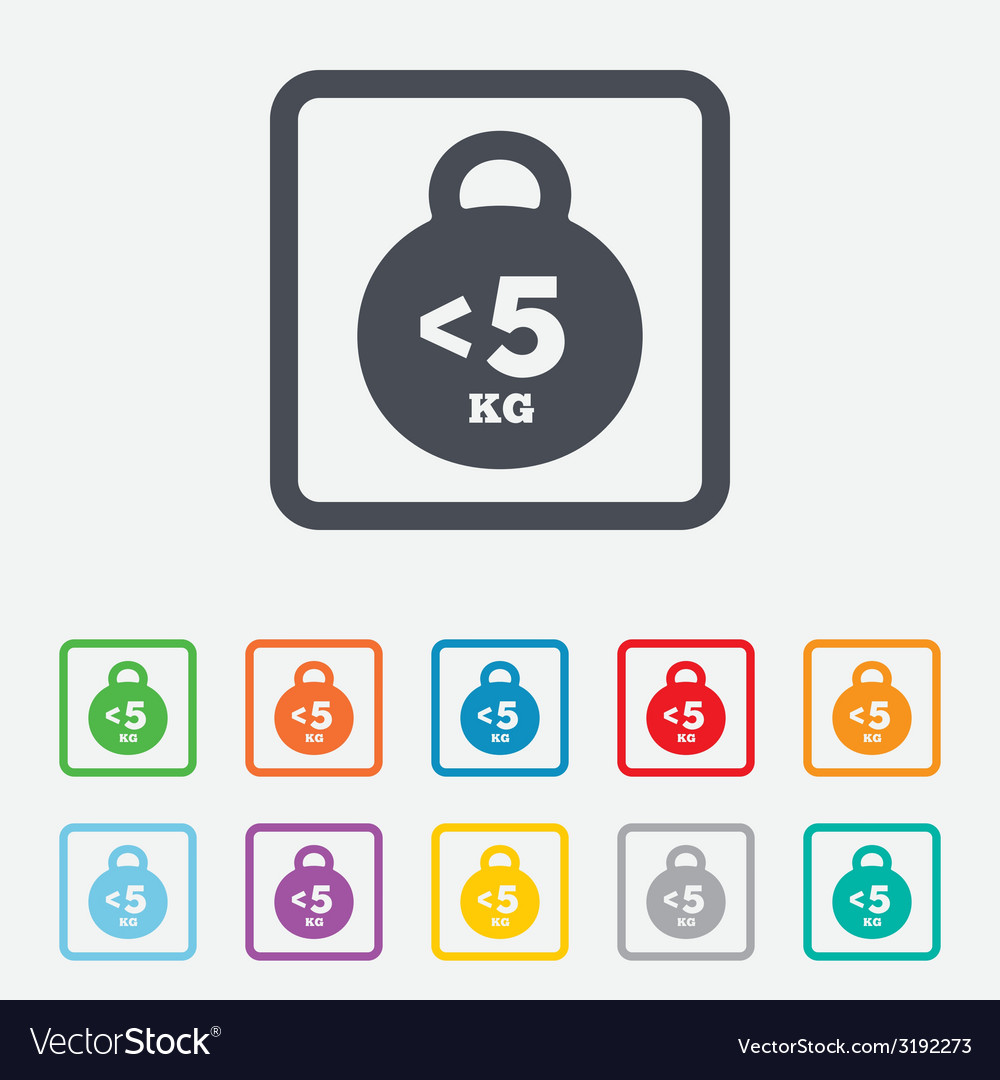 Weight sign icon less than 5 kilogram kg vector