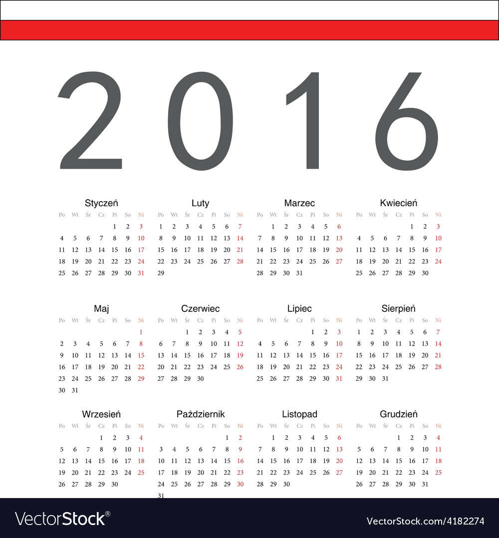 Square polish 2016 year calendar vector