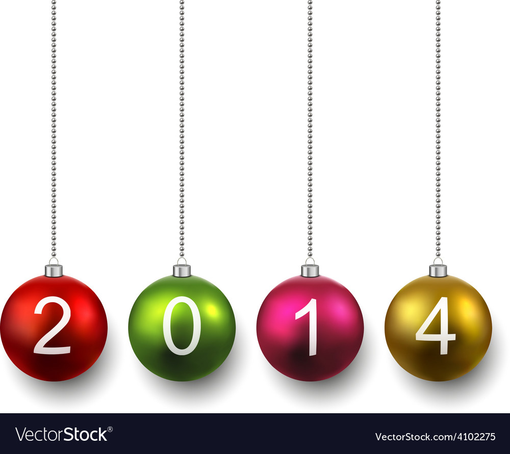 Realistic christmas balls with 2014 vector