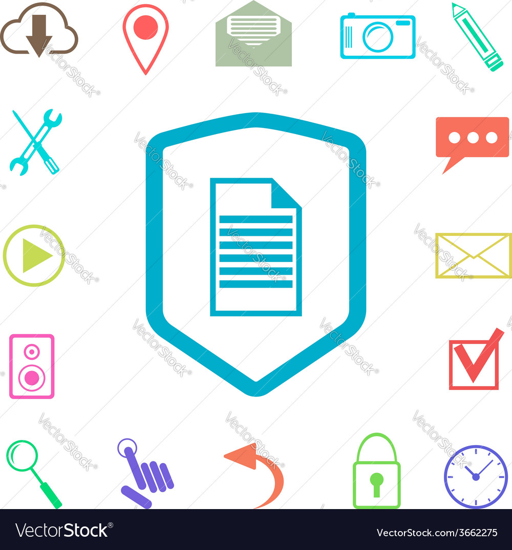Set of colored web icons with shield vector