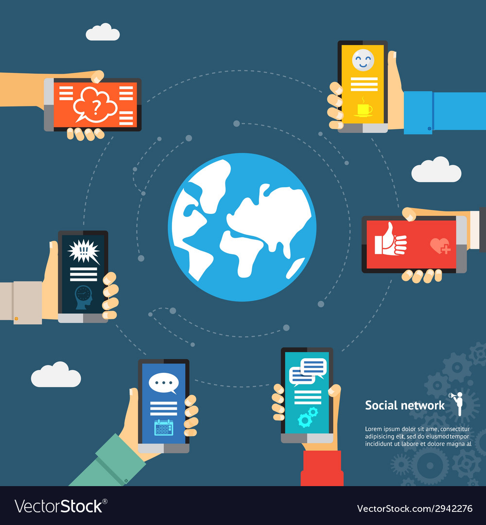 Globe mobile instant messenger concept vector