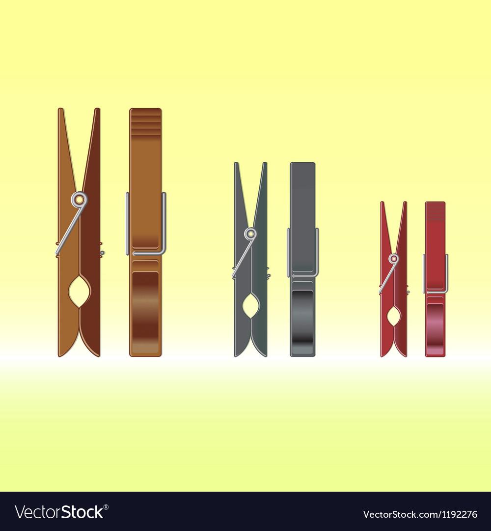 Metal clothes pin set vector