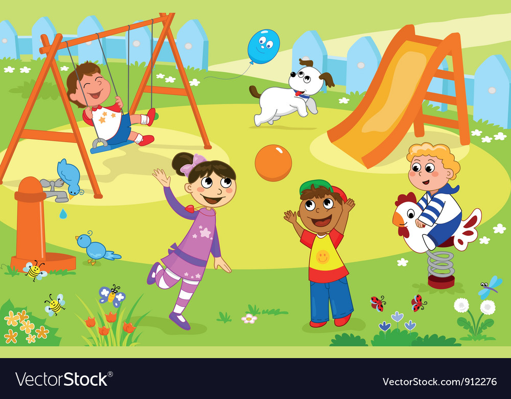 Smiling kids playing at the playground vector