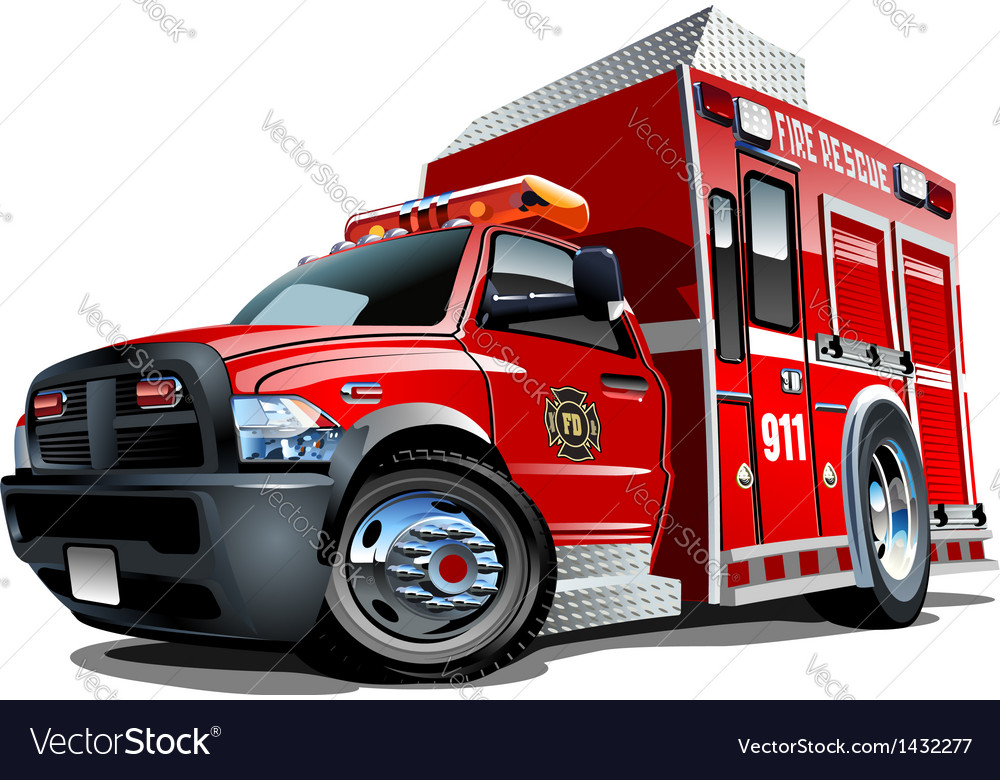 Cartoon rescue truck vector