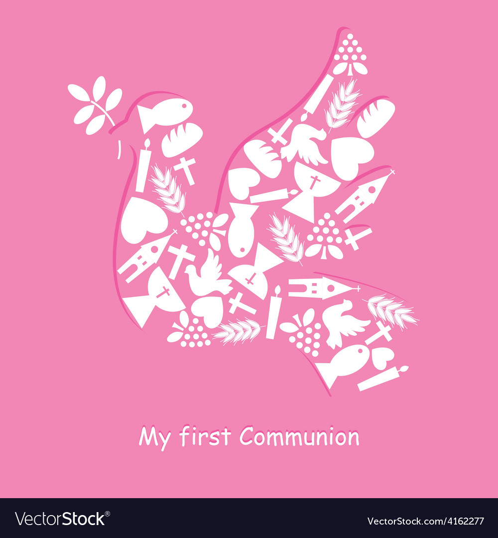 First communion invitation card vector