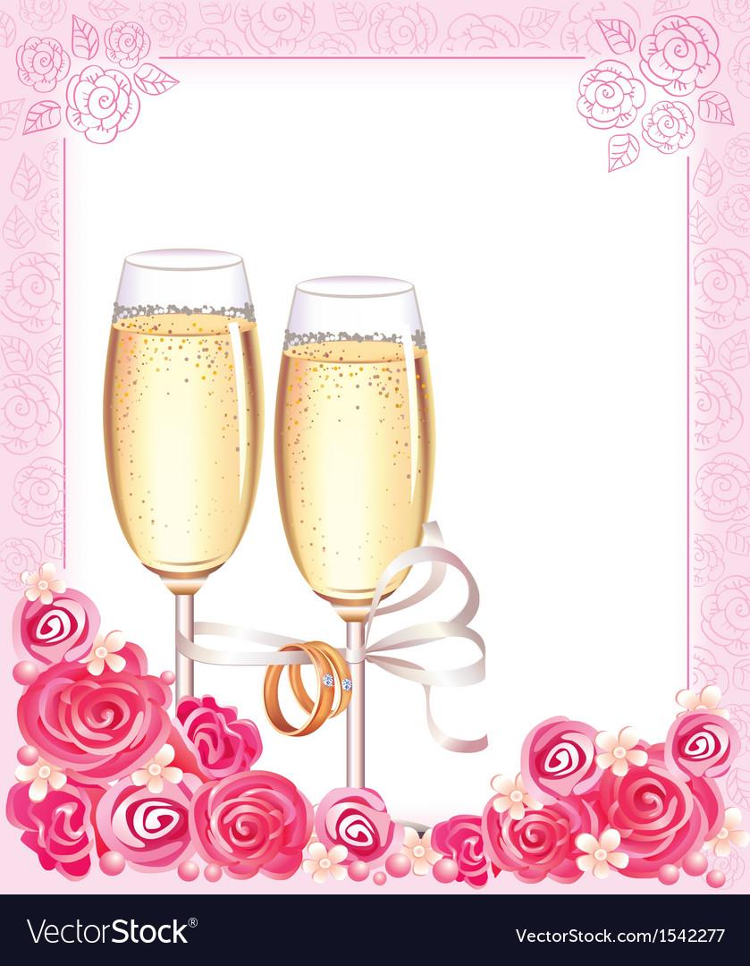 Wedding champagne glasses vector
