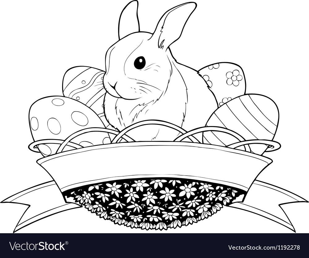 Easter bunny rabbit in basket vector