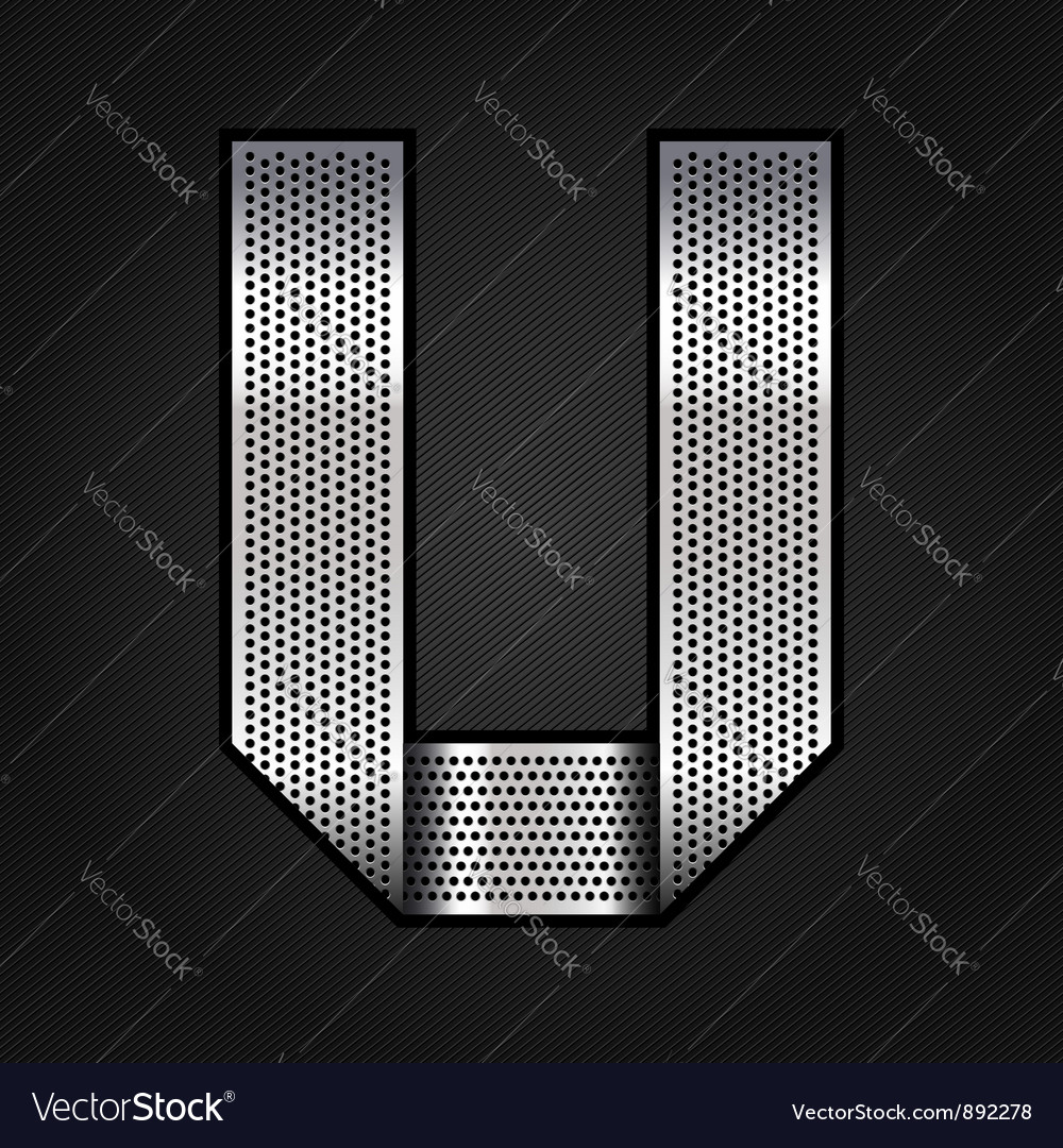 Letter metal chrome ribbon - u vector