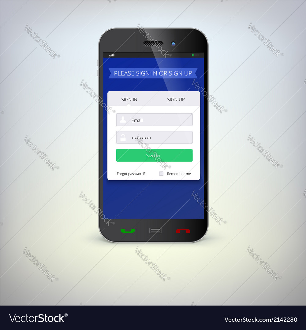 Smartphone with registration form vector