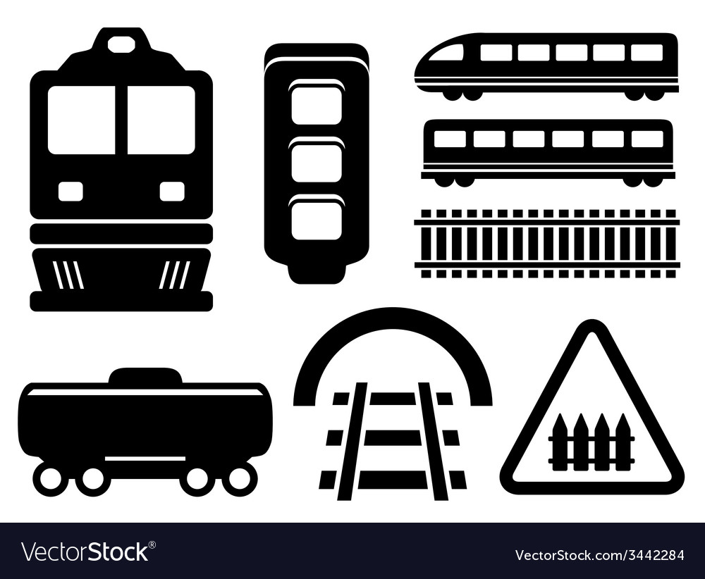 Rail road icons set vector