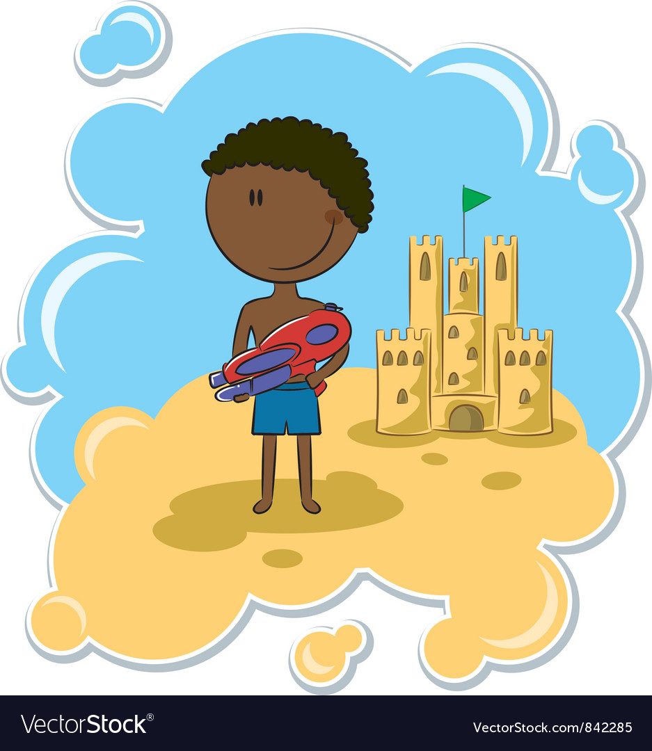 African-american boy and the sand castle vector