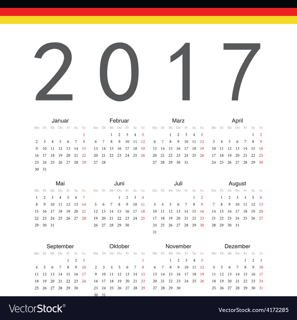 German square calendar 2017 vector
