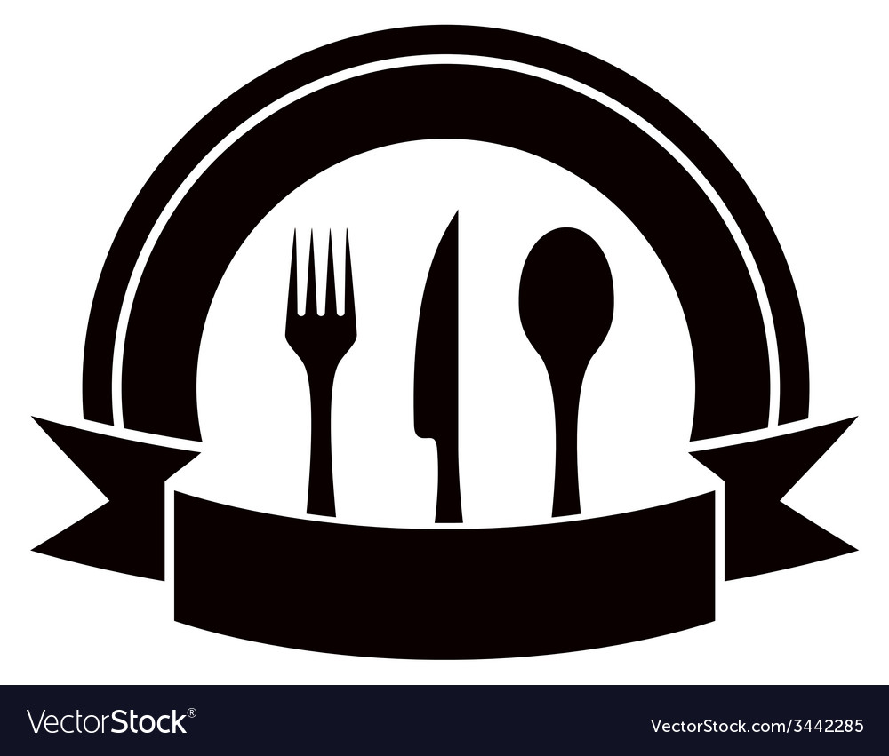 Restaurant invitation icon with table ware and vector