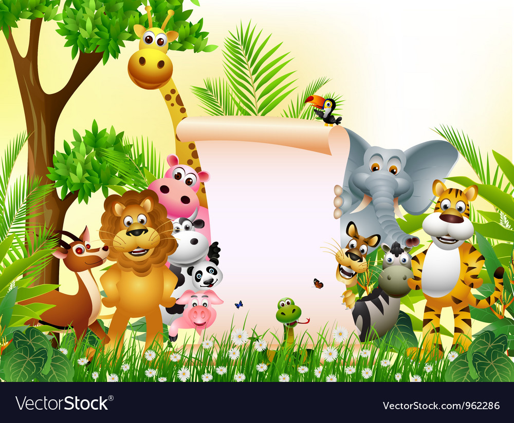 Wild african animal cartoon with blank sign vector