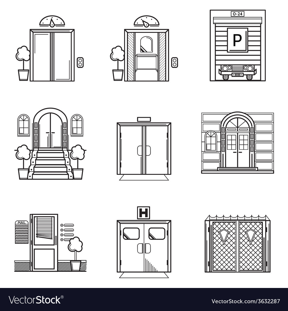 Black contour icons for door vector