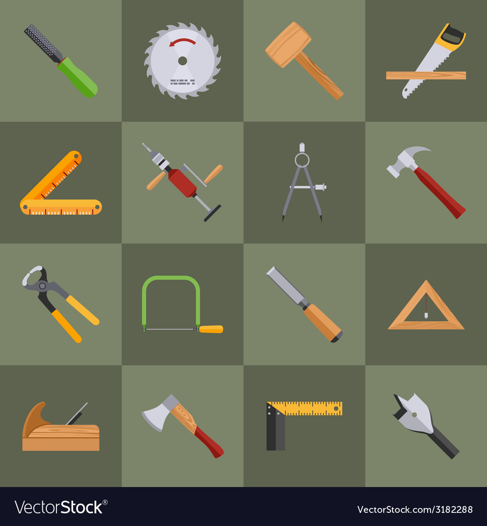 Carpentry tools icons vector