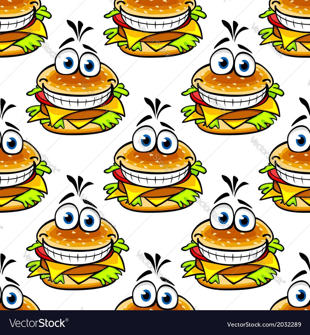 Seamless cartoon cheeseburger pattern vector